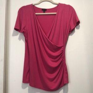 TALBOTS Pink Faux Wrap Top